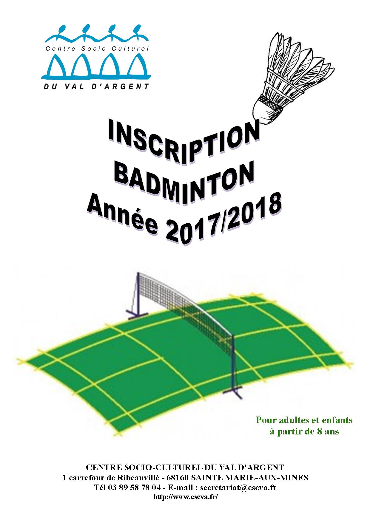 INSCRIPTION BAD 2017 2018